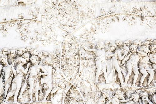 Fotografie, Tablou  Detail of the facade of the Duomo of Orvieto, Italy
