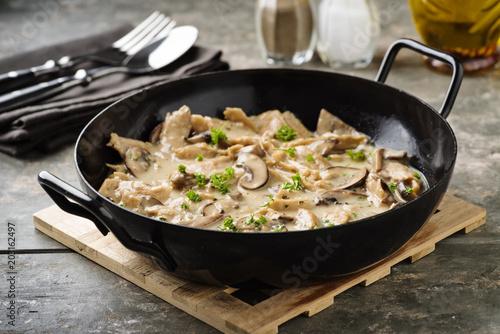 Photo  veganes Soja-Geschnetzeltes - vegan  soy meat stripes in a creamy sauce
