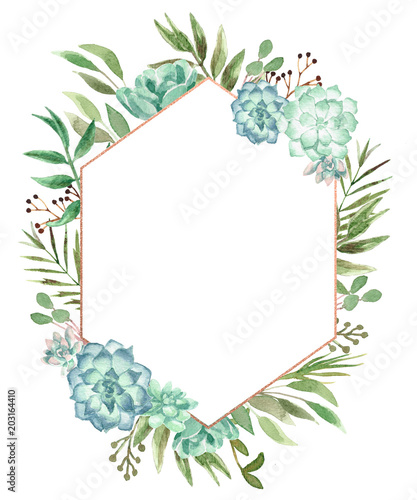 Watercolor Floral Geometric Frame Wall mural