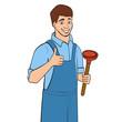 Cartoon plumber holding plunger. Vector illustration