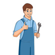 Cartoon plumber holding adjustable wrench. Vector illustration