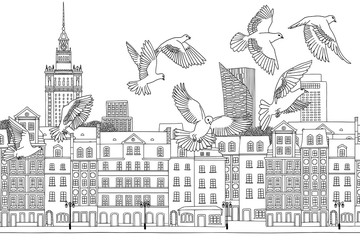 Fototapeta Birds over Warsaw - hand drawn black and white illustration of the city with a flock of pigeons