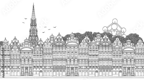 Canvas Print Brussels, Belgium - Seamless banner of the city's skyline, hand drawn black and