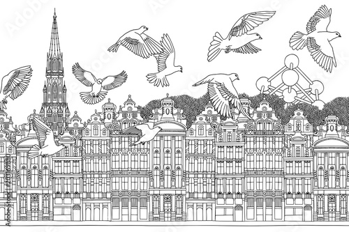 Photo Brussels, Belgium - Seamless banner of the city's skyline, hand drawn black and