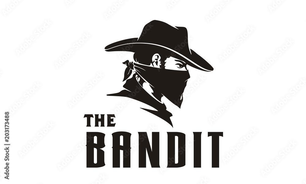 Fototapeta Western Bandit Wild West Cowboy Gangster with Bandana Scarf Mask Logo illustration