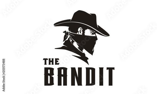 Fotomural  Bandit Wild West Cowboy Gangster with Bandana Scarf Mask Logo illustration
