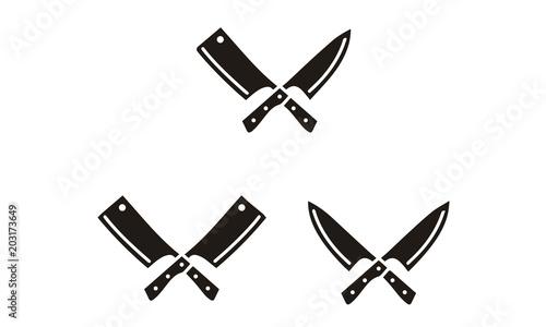 Cuadros en Lienzo  Vintage Retro Knife Cleaver Cross sign Butcher Butchery Meat Logo Design