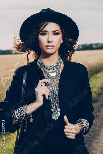 Poster Gypsy trendy woman outdoor