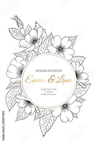 Wedding Event Invitation Card Template Wreath Ring Circle