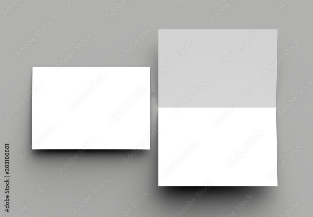 Fototapety, obrazy: Bi fold vertical - landscape brochure or invitation mock up isolated on gray background.