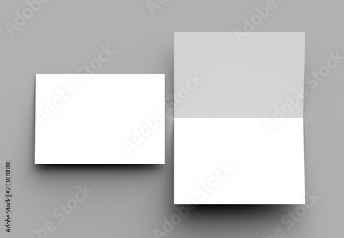 Fotografía  Bi fold vertical - landscape brochure or invitation mock up isolated on gray background