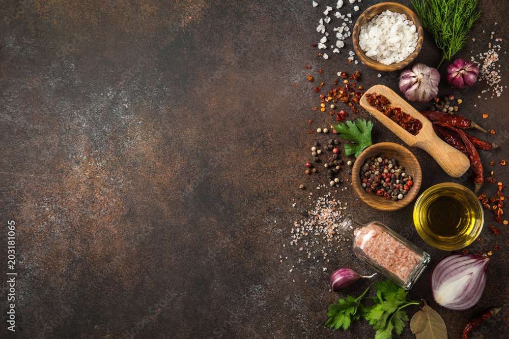 Fototapety, obrazy: various herbs and spices on dark background.  Cooking concept. Top view. copy space