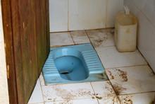 Public Squat Toilet In Sri Lanka.