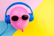 Leinwanddruck Bild - pink air balloon on colorful background, Bright Summer Color, Tropical Fruit with Sunglasses, Creative Art concept. Minimal style,Hot Beach Vibes. Fun Party Mood