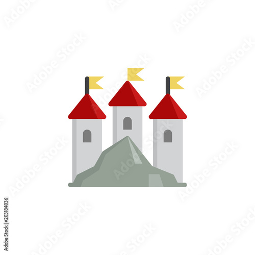Poster  Kingdom castle flat icon, vector sign, colorful pictogram isolated on white