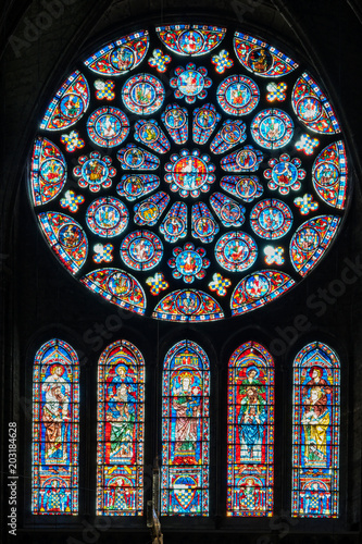 Photo  Stained-glass windows in Chartres Cathedral