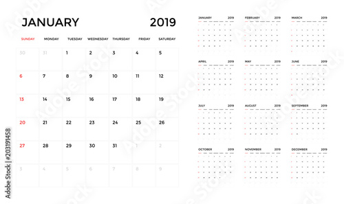 Fotografia  Calendar 2019 template. Calendar planning week. vector