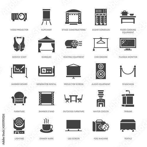 Event supplies flat glyph icons  Party equipment - stage