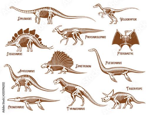 Dinosaurs Decorative Icons Set Billede på lærred