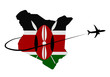 canvas print picture - Kenya map flag with plane silhouette and swoosh 3d illustration