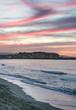 Abendrot in pink an einem Strand von Kreta