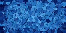 Abstract Background With Blue Hearts - Illustration,  Various Shades Of Blue Hearts Background
