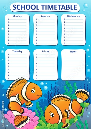 Foto op Canvas Voor kinderen Weekly school timetable design 5