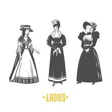 Lady, Old Fashion Vector Illus...