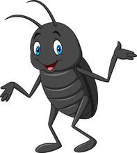 Cartoon Happy Black Beetle