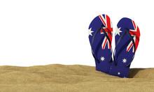 Australia Flag Flip Flop Sandals On A White Background. 3D Rendering