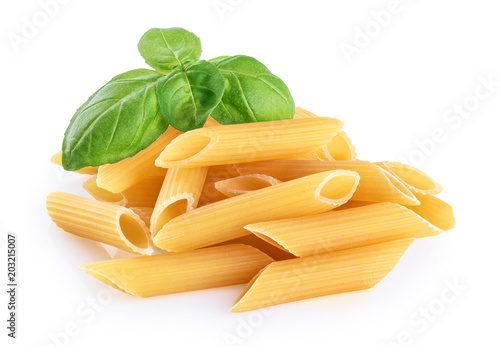 Canvastavla Penne rigate pasta and basil isolated on white background. Raw.