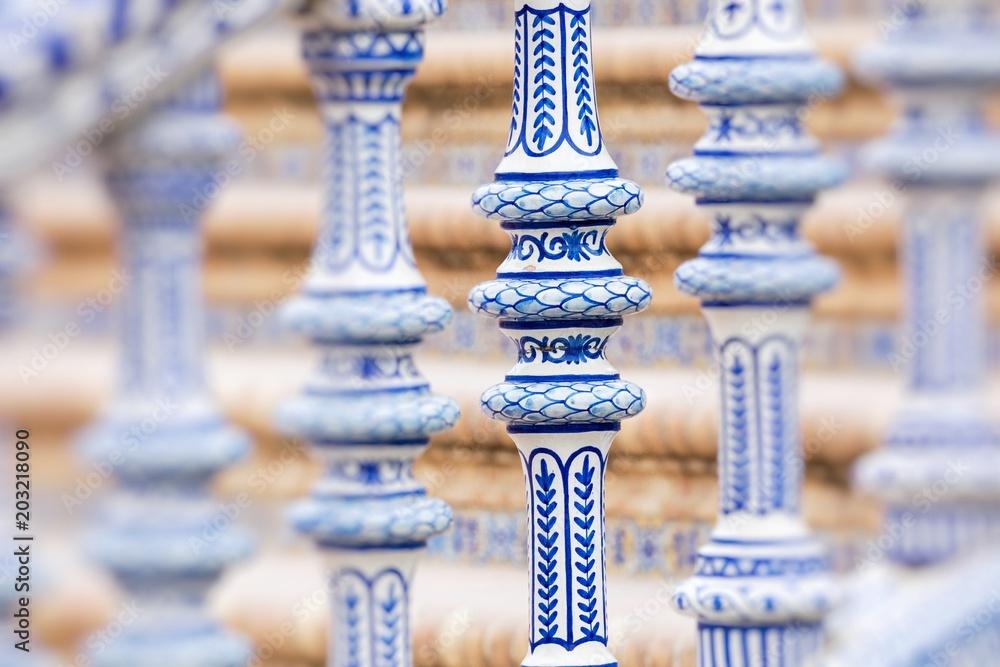 Fototapety, obrazy: Plaza de Espana blue balustrade detail in Sevilla, Andalusia, Spain.