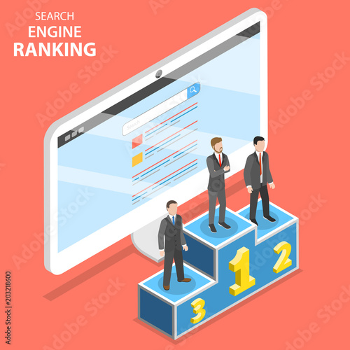 Photo  Search engine ranking flat isometric vector