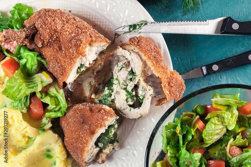 Chicken Kiev, breaded chicken breast