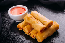 Lumpias With Sweet Sauce On A ...