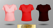 Women's Black T-shirt With Short Sleeve And V-neck In Front And Back Views. Vector Template. Fully Editable Handmade Mesh. Pink, Red, Vinous