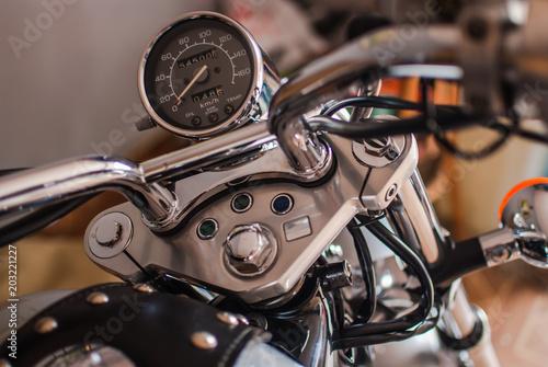 Valokuva  Closeup of chopper dashboard and gauges. Shiny chrome details