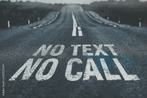 No text No call written on road Road safety Fototapet