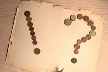 Symbols With Money Euro Pennies Dollar Question Mark Exclamation Mark Old Paper Wooden Table