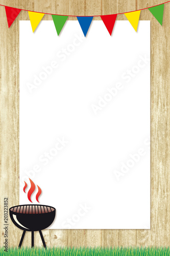 Foto op Plexiglas Grill / Barbecue barbecue poster with colourful bunting