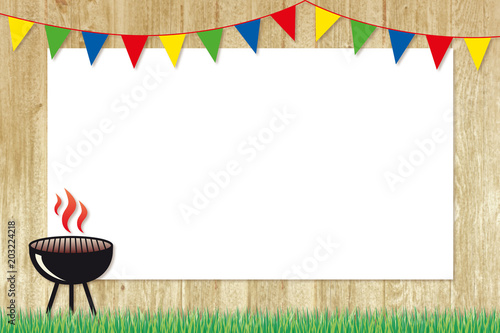 In de dag Grill / Barbecue barbecue poster with colourful bunting