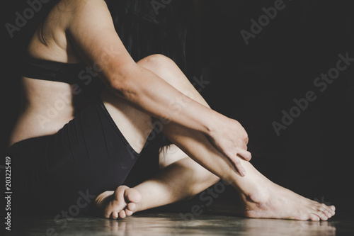 Spoed Fotobehang Gymnastiek lonely desperate sad beautiful woman with bruises and wound domestic violence rape , Vintage effect style pictures ,concept photo of sexual assault