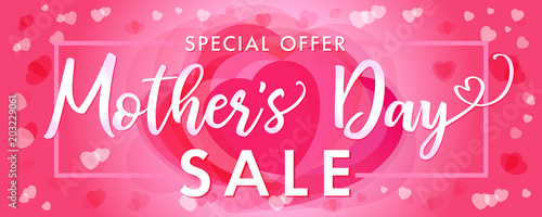 Fotografía  Happy Mother`s Day elegant lettering and pink hearts sale banner
