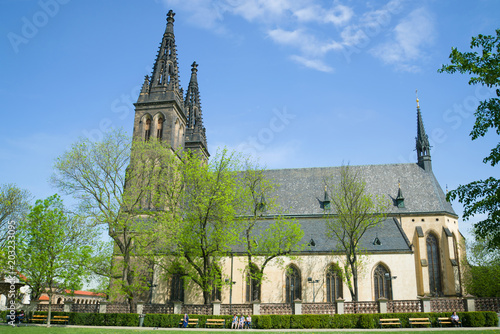 Peter and Paul Cathedral in Vysehrad on a sunny April day Poster