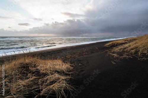Spoed Foto op Canvas Noordzee Iceland, Black sand beach with wave, sunset