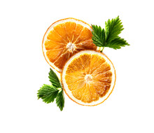 Dried Orange Round Slices With Green Leaves On An Isolated White Background.