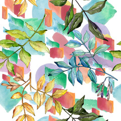 Naklejka Do sypialni Ash leaves in a watercolor style pattern. Aquarelle leaf for background, texture, wrapper pattern, frame or border.