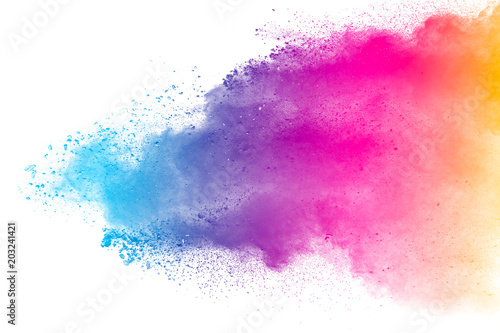 Photo sur Plexiglas Forme Multi color powder explosion isolated on white background. Color dust splash cloud on white background. Launched colorful particles on background.
