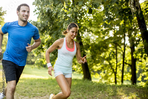 Poster Jogging Young couple running