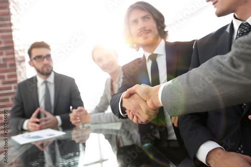 Staande foto Hoogte schaal background image of handshake of business partners